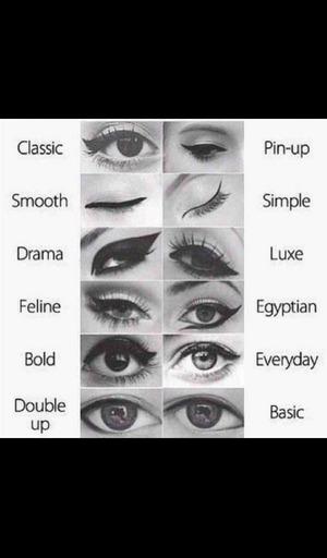 different stylesnof eyeliners:D