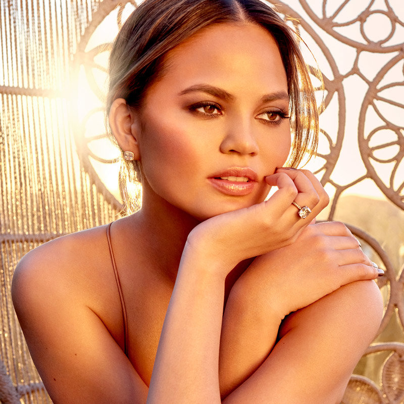 Chrissy Teigen wearing the BECCA x Chrissy Teigen Glow Face Palette