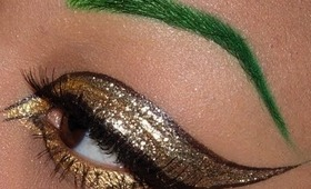 Winged Gold Glitter Eye with Green Brows!!