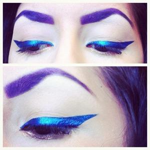 """I made a blue eyeliner out of Kat Von D's """"Johnette"""" pigment and LASplash eyeliner base."""