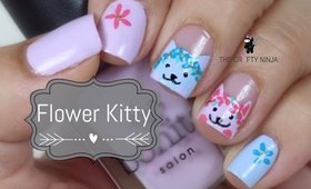 Flower Kitty Nail Art by The Crafty Ninja