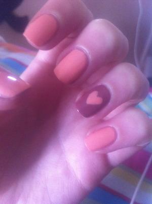 valentines nails using Barry M- peach melba 138 & Bourjois- beige glamour 27