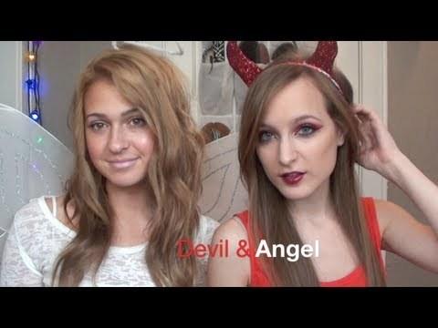 Halloween Makeup Devil And Angel.Devil And Angel Makeup Diy Horns And Halo