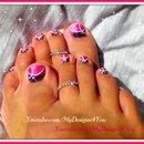Easy Pink Glitter Toenail Art Design