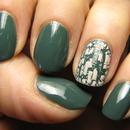 My new green polish + nude crackle!
