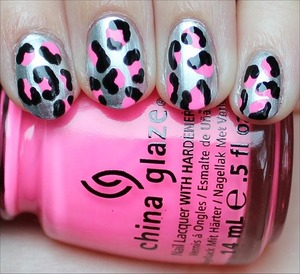 See more swatches here: http://www.swatchandlearn.com/nail-art-neon-pink-silver-black-leopard-nails/