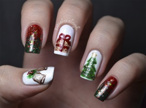 Skittle Christmas nail art  I never posted on my blog