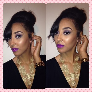 I told y'all I'm in loooooooooovvveee with a purple lip!!! 💜💜💜 I'm wearing herione by Mac on my lip n Mally eyeshow on my eyes n elf lashes!!! Maybelline's fit me in shade 315 n smoldering plum n a bronzer by Clinique