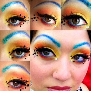 """a look inspired by queen of blending's youtube tutorial called """"rainbow brows'"""