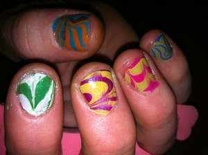 My first attempt at water marbling. Lol, thanks to Matt for lending a hand ;)