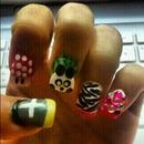 Cross, Toad, Panda, Zebra Print and Junk Nail