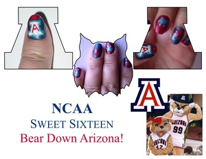 "School Spirit to the Max..  :)  i mixed colors so it would be hard to described what i did to get the hues that i needed..  but the ""A"" and paws i did them in a Ziploc bag first  let them try for at least 6 hours and then peal and stick on my nail then ap"