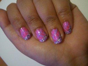 Pink and Purple design with rhinestones