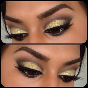 Combo of Ben Nye, MAC & MUFE shadows. The yellow glitter is actually a nail glitter! Oops.