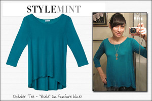 "My October Stylemint tee! I chose the ""Bixle"" in ""fanfare blue"""