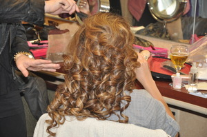 Hair curled, teased and ready for the tiara !!! Hair By: Brooke G.