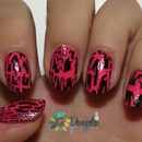 Neon pink & black cracle nail polish