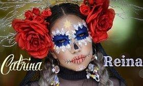 💀 Catrina REINA  con piedras preciosas 💎/ Queen Sugar Skull  makeup tutorial   auroramakeup
