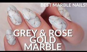 GREY & ROSE GOLD EASY MARBLE NAIL ART TUTORIAL