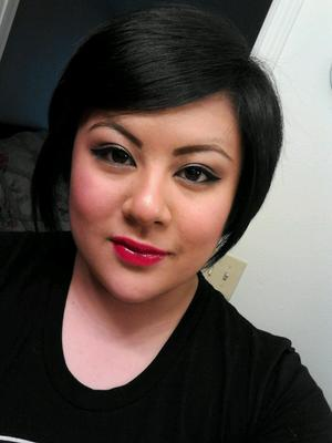 Rocking the red lips! MAC Cherry Lipliner, MAC Russian Red lisptick and MAC Love Alert Dazzleglass.