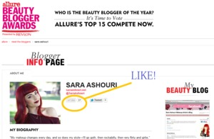Please LIKE my interview @ http://blogger-awards.allure.com/blogger/5 for the Beauty Blogger Contest with Allure Magazine!