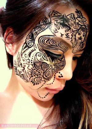 "There's nothing quite so indulgent as a healthy batch of late night doodles! Current Blanche Macdonald Makeup student Mimi Choi is not one to resist such a regale; check out this gorgeous henna-inspired creative she drew on using Maybelline UK Stiletto Liquid Eyeliner over an Eve Pearl Cream base, long after the bell had rung and the sun had set…  ""This look actually started with a simple double-winged eyeliner, as I was thinking to create a glamorous Christmas party look with dark lips... But my hands kept wanting to add more, and before I knew it, half of my face was covered in ink. I love going home after school, choosing a few makeup products and start creating on the face without an end goal. Face-doodling has definitely become one of my favorite things to do at home since I started studying at Blanche!"""