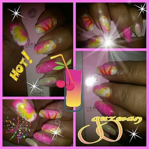 Water marbling with some hot pinks and yellows
