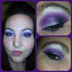 Purple, silver and black with a winged liner and plum lip:)