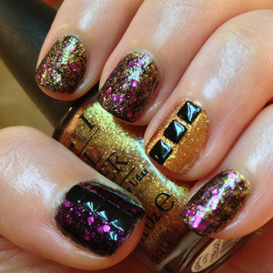 I really love Revlon's Scandalous because the glitter floating in it has such beautiful contrast against the black base and I wanted to amp up the glam with of OPI's Goldeneye and my newly acquired square studs from dollarnailart.com  http://michtymaxx.blogspot.com.au/2013/03/scandaleye.html