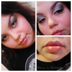 A silvery edgy look with natural glossed lips