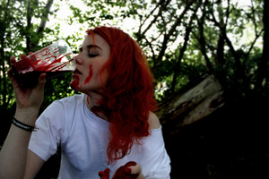 an old photo of me playing with some homemade blood