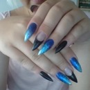 Black / blue ombre gel-nails