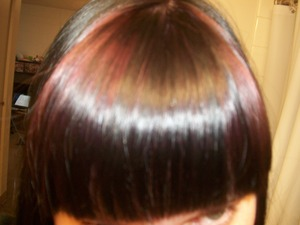 I dyed my bangs with Violet colored hair dye from Thailand and hair dye is really good it made my hair Violet in no time it toke very will to my bangs. The hair dye is Berina. And I got my hair from Ebay.com. You can go on Ebay.com and buy this hair dye for 5 dollers plus tax. I say you get alot for you money. And if you want a good purple hair dye then this is for you. But I will aslo say its easyer to dye my bang rather then to low half of my hair.