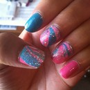 Pink & Turquoise Marble Nail Art