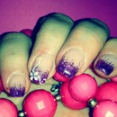 Violet Nails/French/Nail Art/Flower