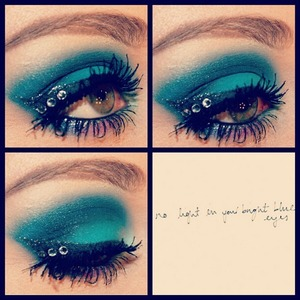 All blue eyes with swarovski crystals