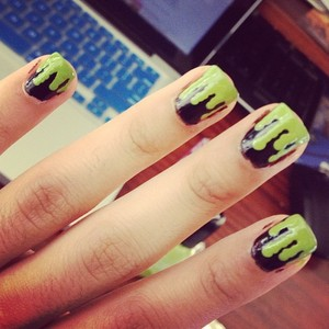 This was inspired by Heather H's nail video you can see the video here http://www.beautylish.com/v/jpgpr/green-slime-nails these are great for halloween