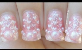 Romantic Hearts Pattern Nail Art Design