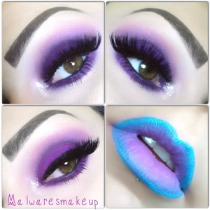I also used pigments from myomakeup for the purple e/s and a Rimmel crayon for the blue lips