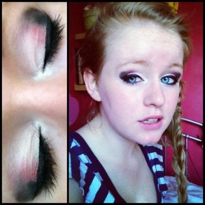 I did a tricolour look, with a winged eyeliner look, and pink lipstick and a nude gloss over, and light bronzer.