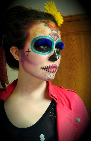 This is me with the Sugar Skull makeup I did yesterday :)