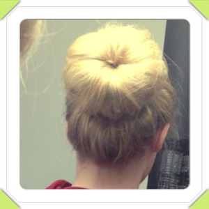 My first sock bun, my hair are so long and thick the bun is huge! Maybe its the sock thats too thick? I should by a donut at H&M...
