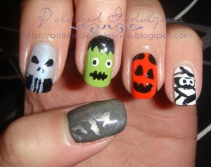 Halloween Nails: Ghost and bats, Skull, Frankenstein's Monster, Jack o' Lantern, Mummy