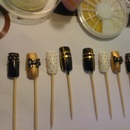 Black & Silver Studded 3Dr Nails