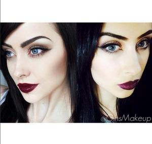This is a recreation of Johanna's (picture on the left) look. The brows are Anastasia Beverly Hills brow powder duo, the eyes are just dark grey shadow and black liquid liner (Geisha Ink) with stacked Ardele falsies. Mascara is Color Secrets HD Million Lashes. The lip color is actually just dark brown & red eyeshadows mixed and patted on top of clear gloss - as I didn't have the lip color she was wearing and I wanted to create the perfect match.  :)