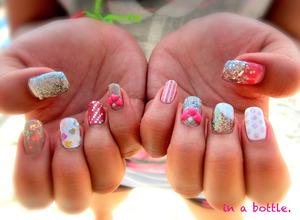 pink mismatch gel nails @gemsinabottle
