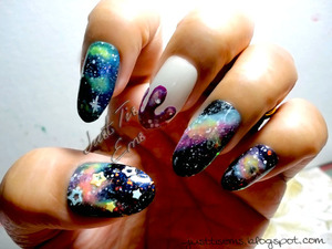Decided to do some galaxy nails http://justtisems.blogspot.com/2012/09/triptoouterspace.html