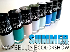 Eight LE coastal shades screaming to be worn to the beach. Every shade is a creme formula and opaque in two coats. READ MORE: http://www.beautybykrystal.com/2013/05/maybelline-summer-collection-2013.html
