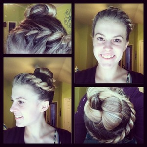 French rope braid from ear to ear into a high ponytail with twisted bun