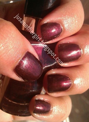 A pretty mahogany reddish brown color. perfect for fall :) .  http://jusanothergurl.blogspot.com
